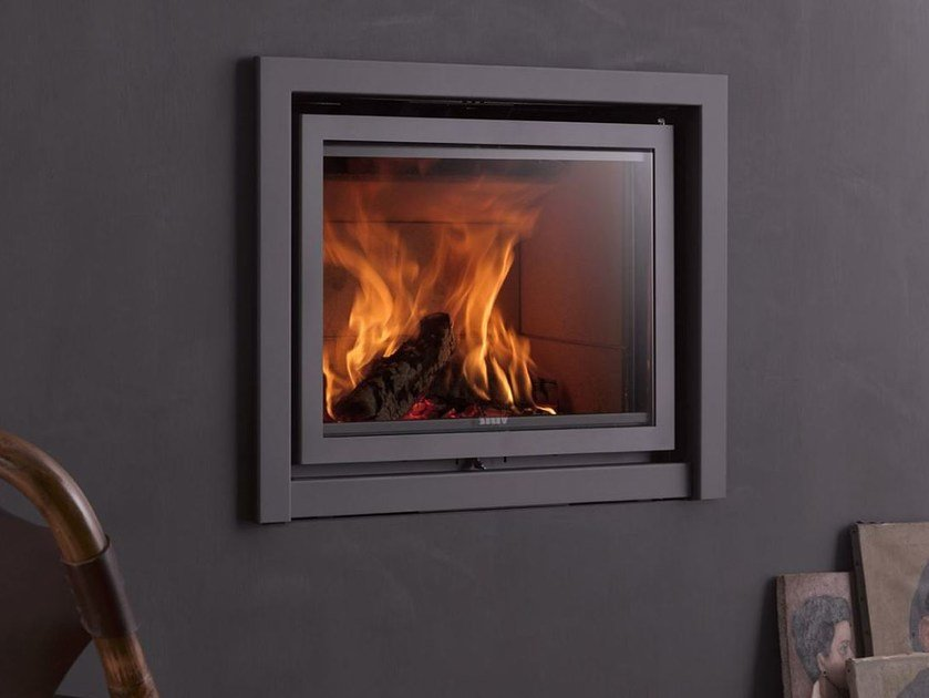 Wood-burning built-in fireplace with panoramic glass STÛV 16-IN by Stûv
