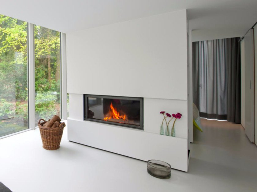Wood-burning built-in glass and steel fireplace STÛV 21/125 by Stûv