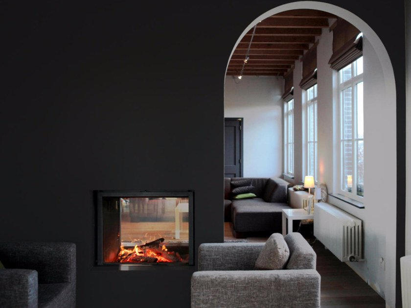 Double-sided wood-burning built-in fireplace STÛV 21-85 DF by Stûv