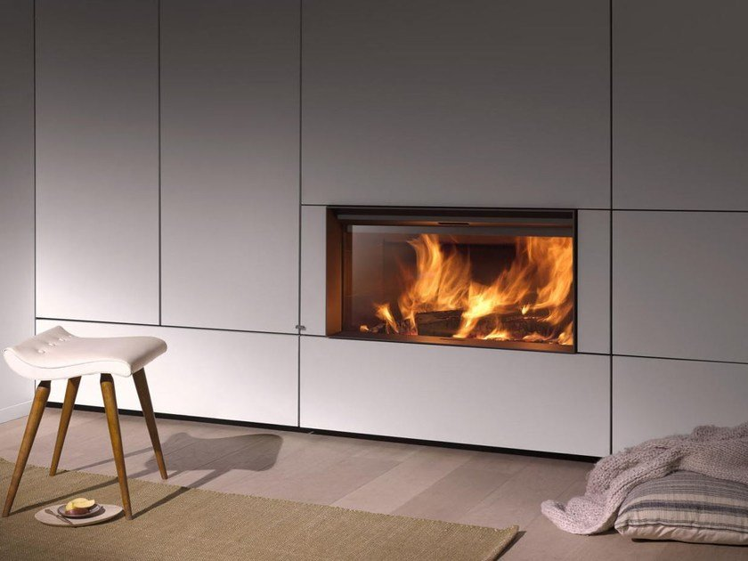 Wood-burning built-in fireplace with panoramic glass STÛV 22-110 | Closed fireplace by Stûv