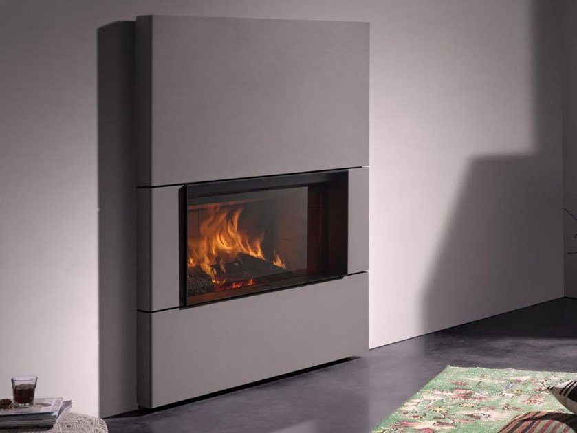 Wood-burning closed fireplace with panoramic glass STÛV 22-110 DS by Stûv