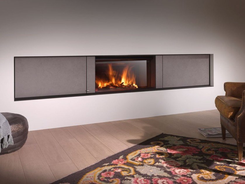 Wood-burning built-in glass and steel fireplace STÛV 22-110 L4 by Stûv