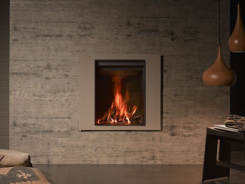 Wood-burning wall-mounted fireplace with panoramic glass STÛV 22-70 A4 by Stûv