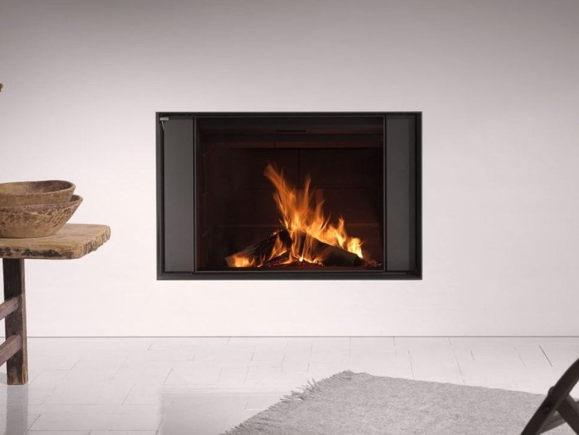 Contemporary style wood-burning wall-mounted built-in steel fireplace STÛV 22-90 S4 by Stûv