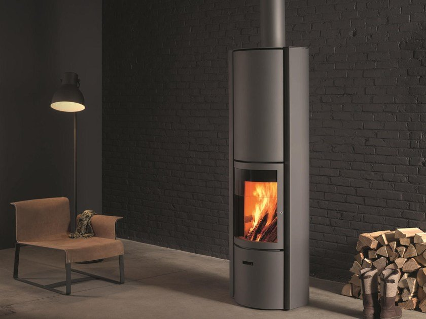 Wood-burning swivel stainless steel stove with Thermal Accumulation STÛV 30-H by Stûv