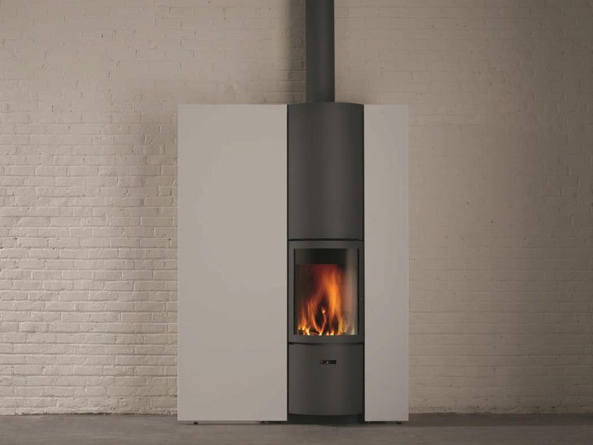 Wood-burning wall-mounted stove for air heating STÛV 30-IN by Stûv