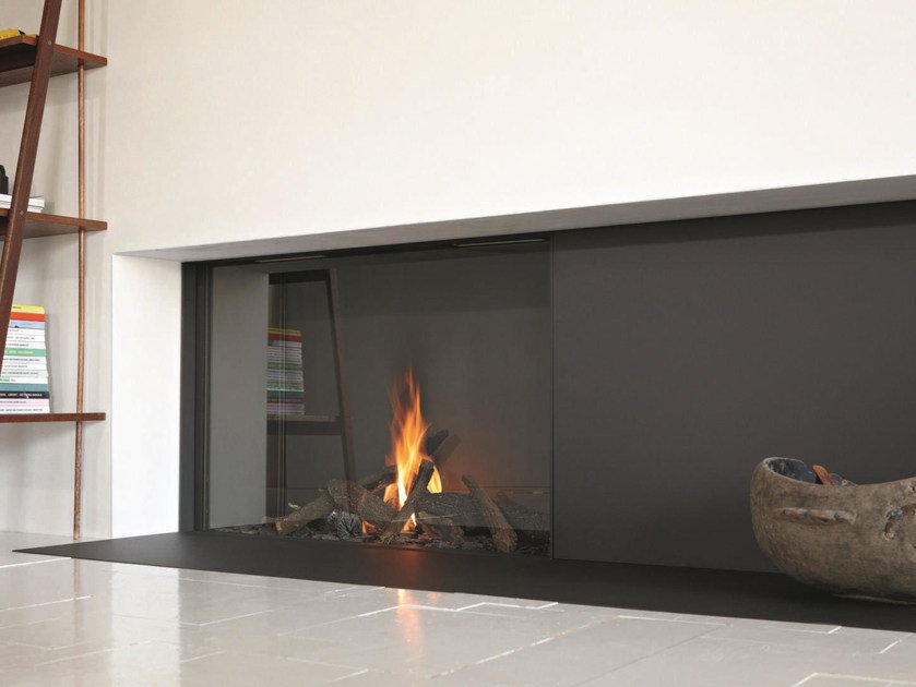 Gas closed fireplace with panoramic glass STÛV B-100 H | Closed fireplace by Stûv