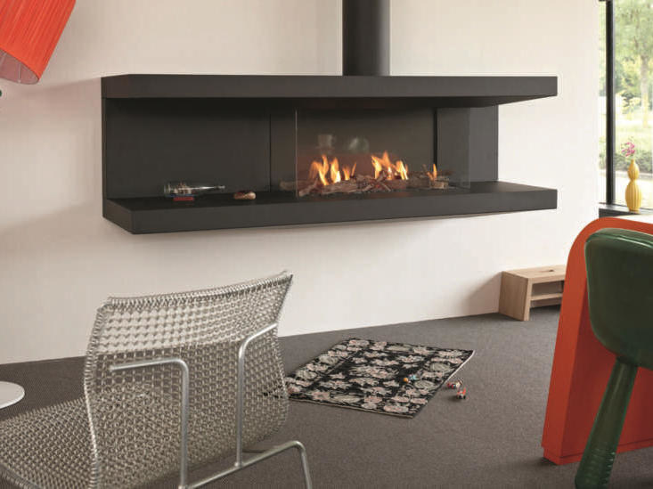 Open steel fireplace with panoramic glass STÛV C-200 by Stûv