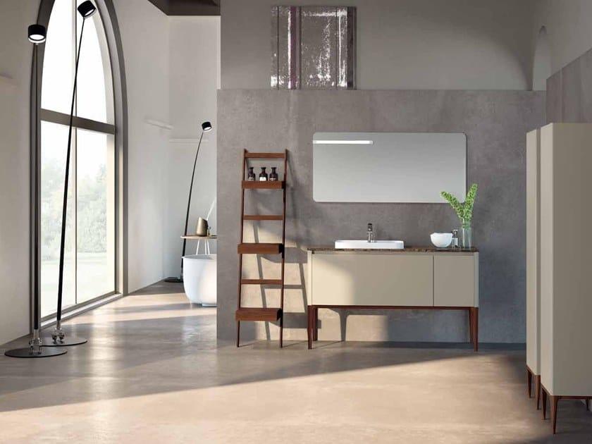 Lacquered Dark Emperador marble vanity unit SU12 | Vanity unit by Mobiltesino