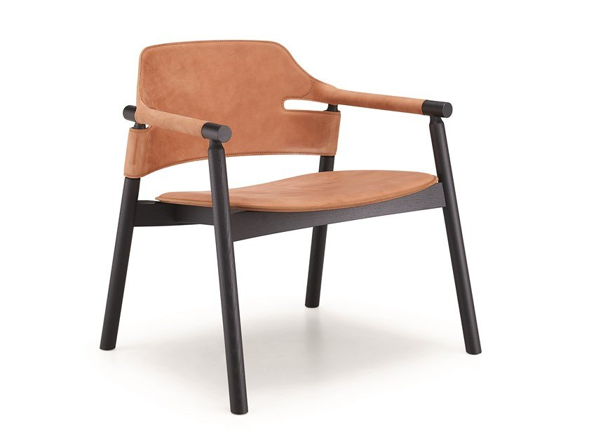 Tanned leather armchair with armrests SUITE ATT by Midj