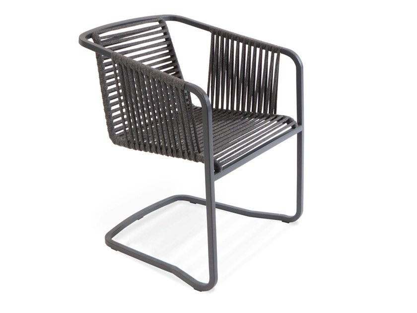 Cantilever rope garden chair with armrests SUITE | Cantilever chair by FISCHER MÖBEL