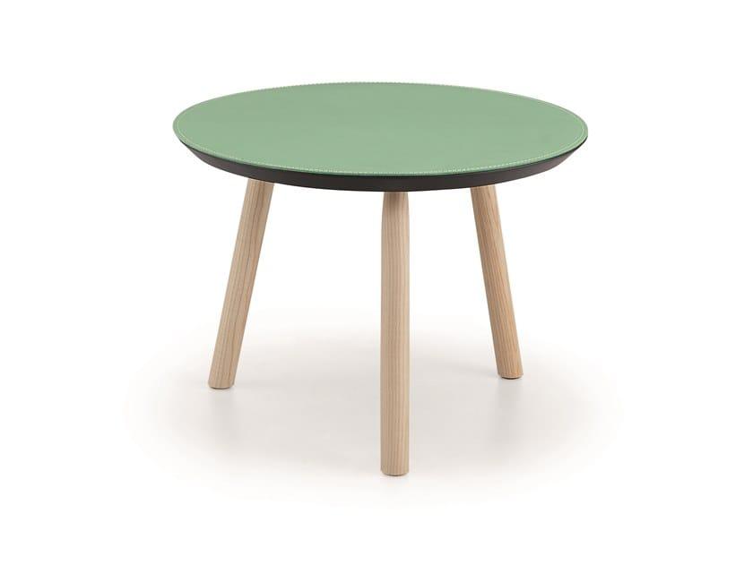 Tavolino rotondo in cuoio SUITE | Tavolino rotondo by Midj