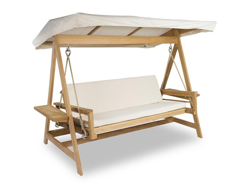 Canopy fabric and teak garden swing seat SULTAN SWING by INDIAN OCEAN