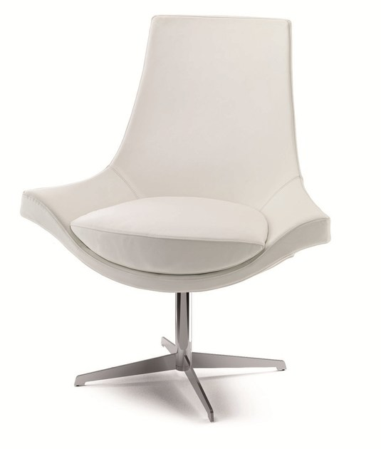 Swivel easy chair high-back SUMI | Leather easy chair by Cizeta L'Abbate