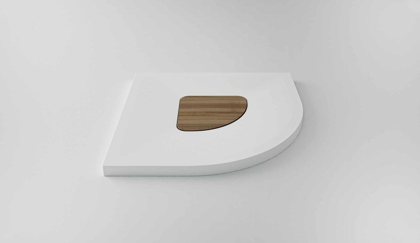 Corner Solid Surface® shower tray SUN | Corner shower tray by Flora Style
