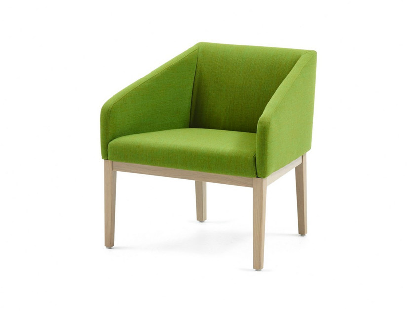 Upholstered fabric easy chair with armrests SUNRISE LOUNGE by Z-Editions