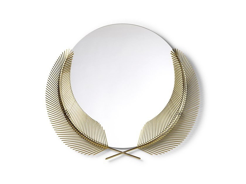 Espelho redondo moldurado de latão SUNSET MIRROR by GHIDINI1961
