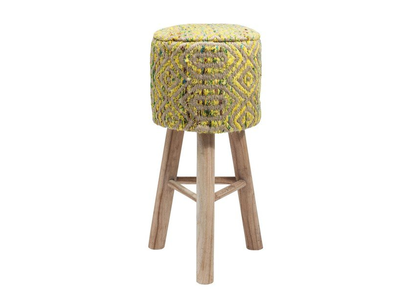 Low barstool with footrest SUNSET YELLOW by KARE-DESIGN