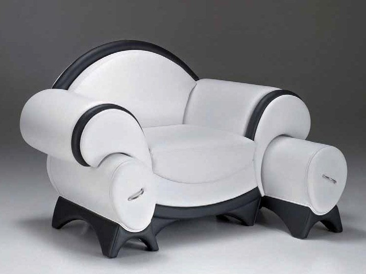 Upholstered armchair with armrests with footstool SUPRISMO by Mirabili