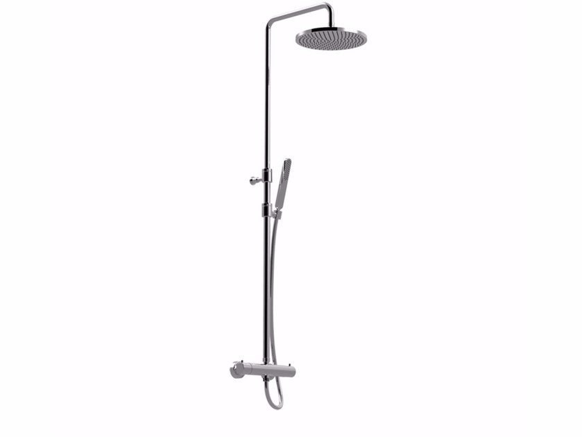 Wall-mounted thermostatic shower panel with overhead shower SURF - F8210WC-S by Rubinetteria Giulini