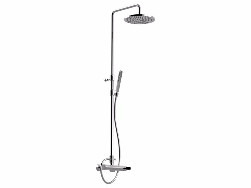 Wall-mounted shower panel with hand shower with overhead shower SURF - F5808SWC-S by Rubinetteria Giulini