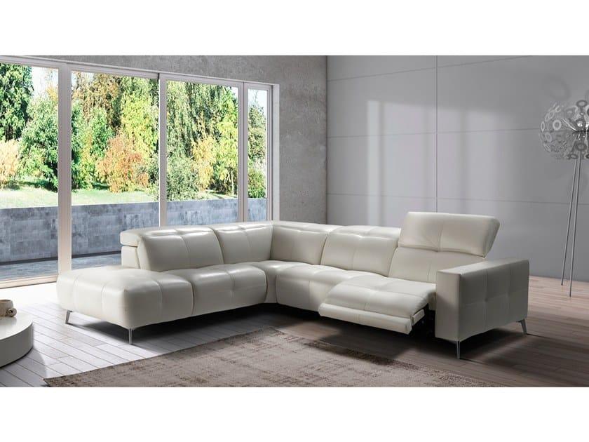 Corner recliner leather sofa SVEVO by Max Divani