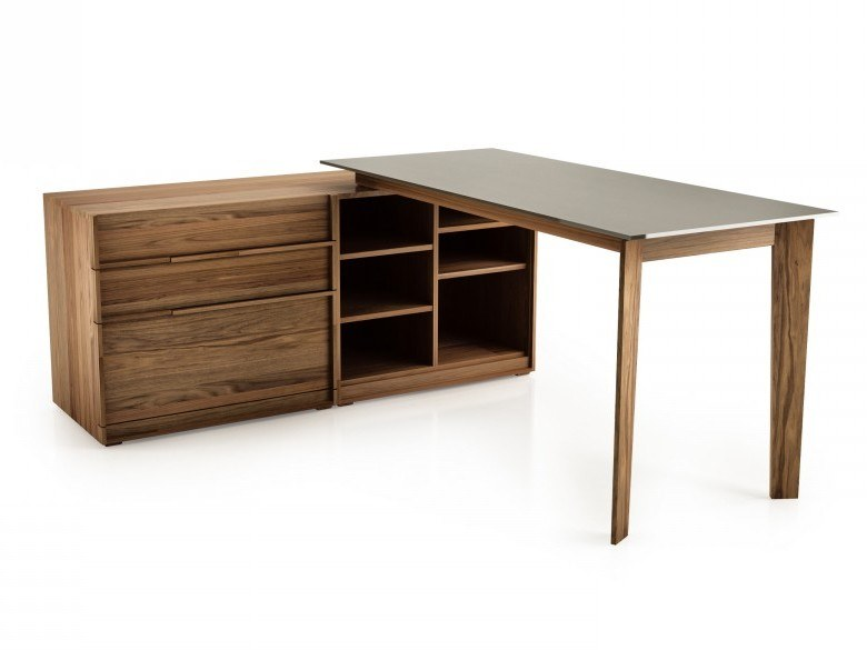 L-shaped walnut office desk with shelves SWAN | L-shaped office desk by Huppé