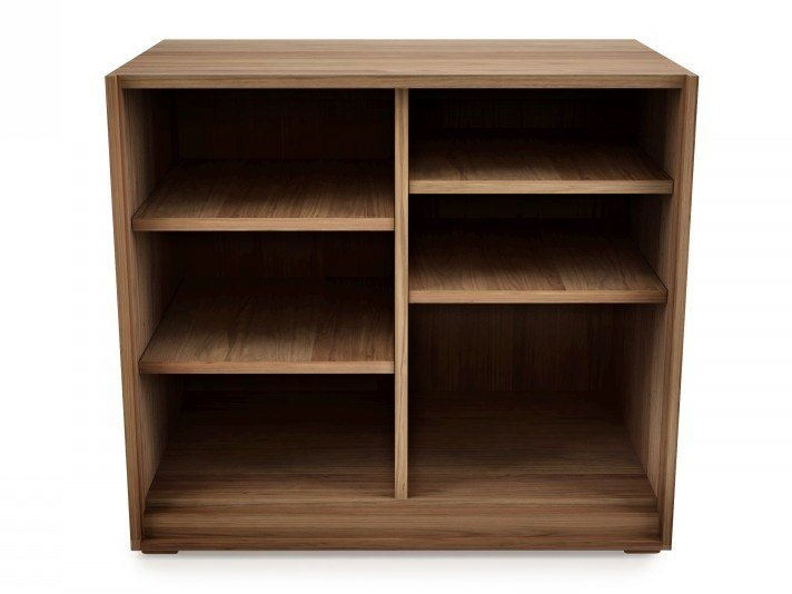 Open low walnut office shelving SWAN | Office shelving by Huppé