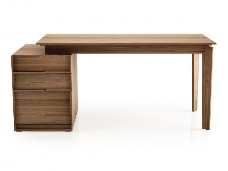 Rectangular walnut office desk with drawers SWAN | Walnut office desk by Huppé
