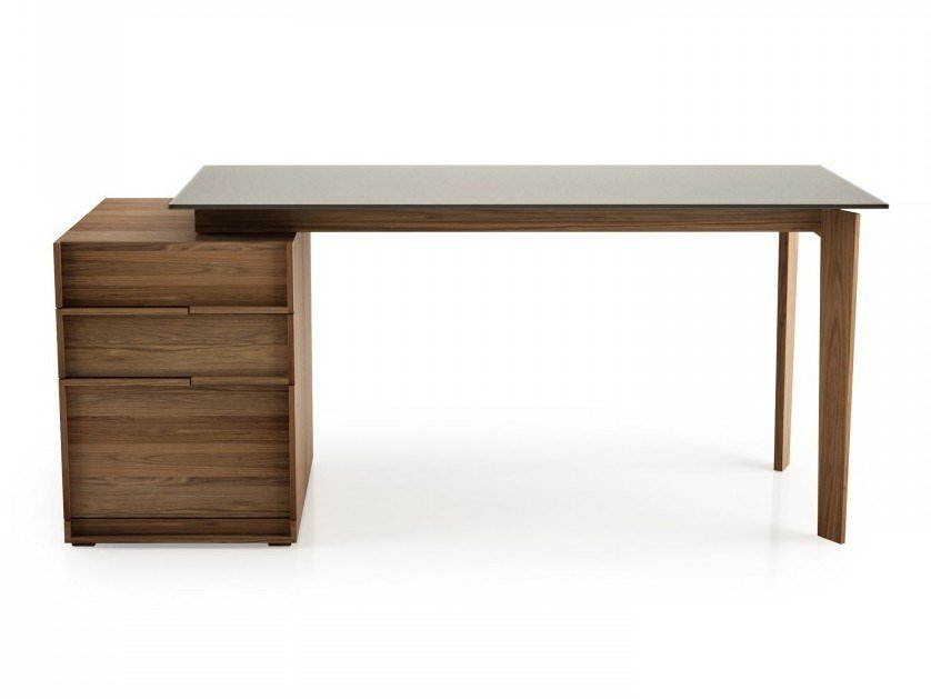 Rectangular wood and glass office desk with drawers SWAN | Wood and glass office desk by Huppé