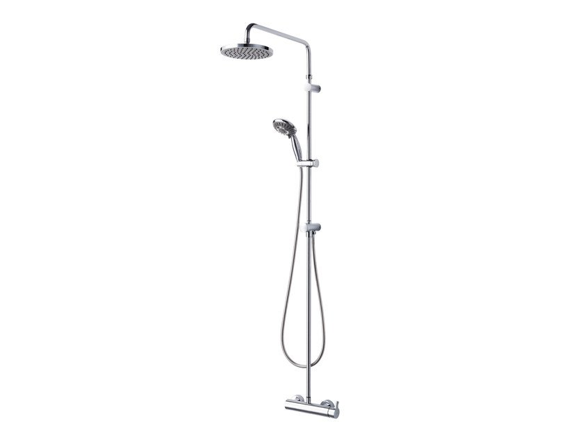 Wall-mounted chromed brass shower panel with overhead shower SWEET | Shower panel by JUSTIME
