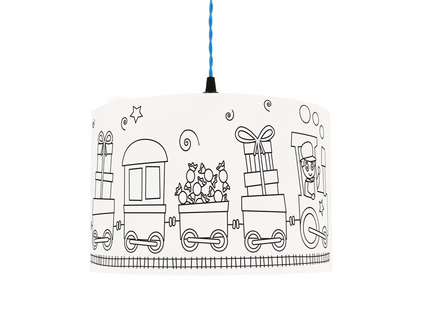 Drum shaped lampshade for children SWEET WAGONS by Mullan Lighting