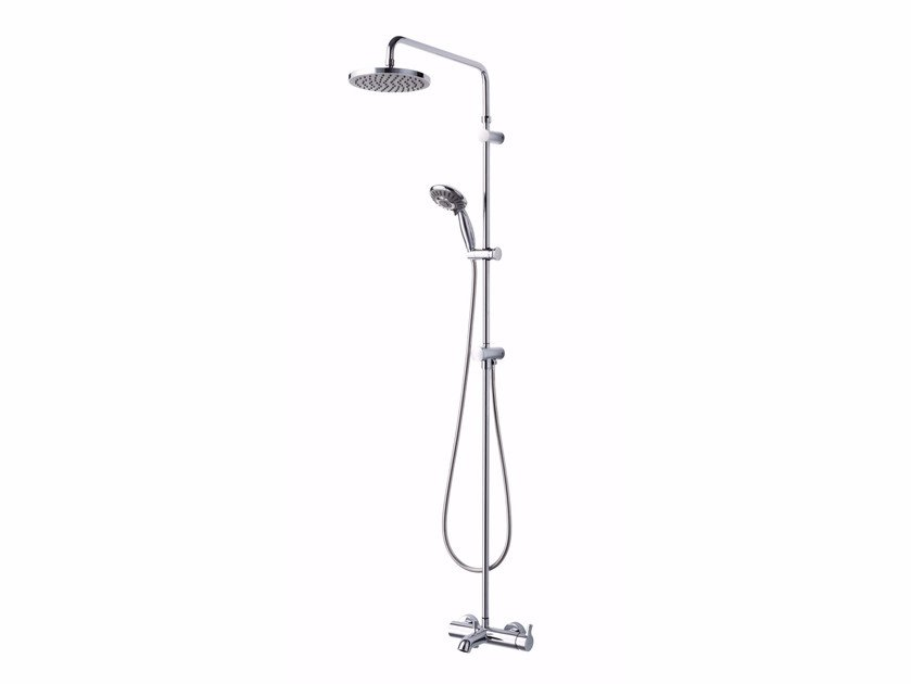 Wall-mounted chromed brass shower panel with overhead shower SWEET | Wall-mounted shower panel by JUSTIME