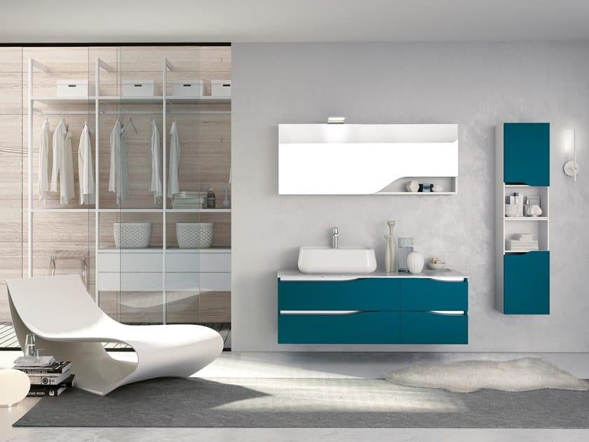 Mobile lavabo sospeso con specchio SWING 18 by BMT