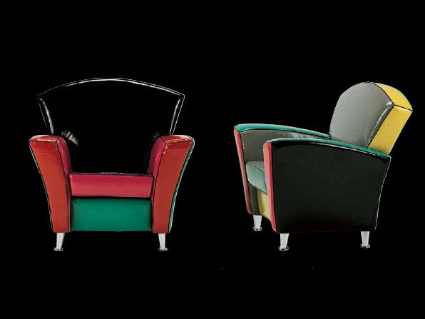 Upholstered armchair with armrests SWING by Mirabili