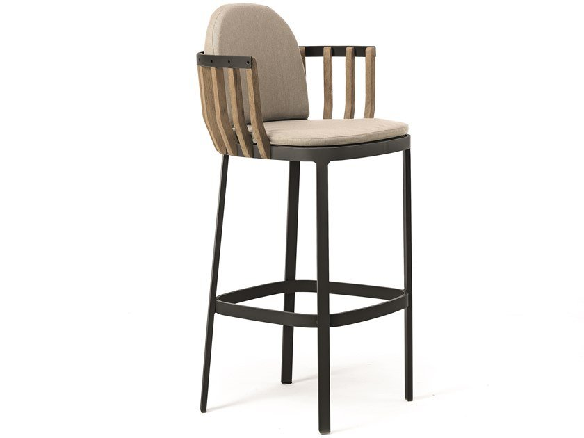 High garden stool with back SWING | Stool by Ethimo