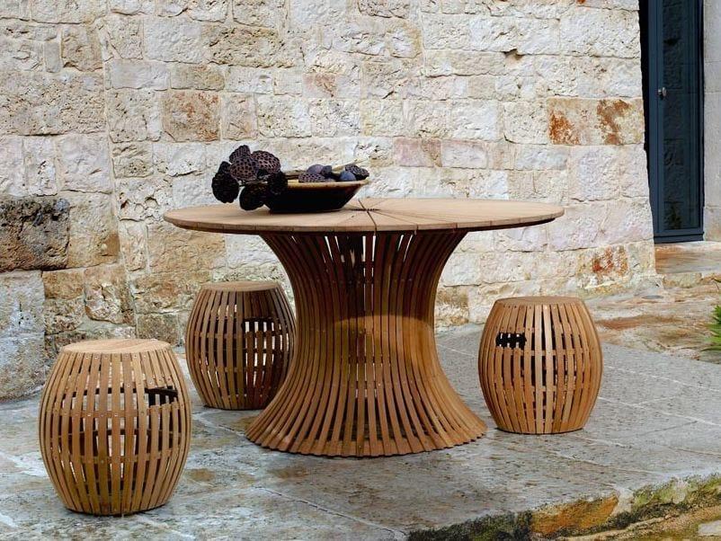 Round teak garden table SWING | Teak table by Unopiù