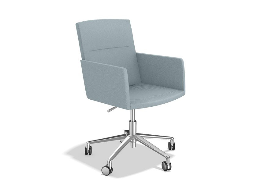 Swivel fabric chair with 5-spoke base with armrests LEON IV   Swivel chair by Casala