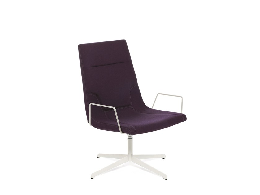 Swivel chair with 4-spoke base with armrests ELLE 65 | Swivel chair by Emmegi