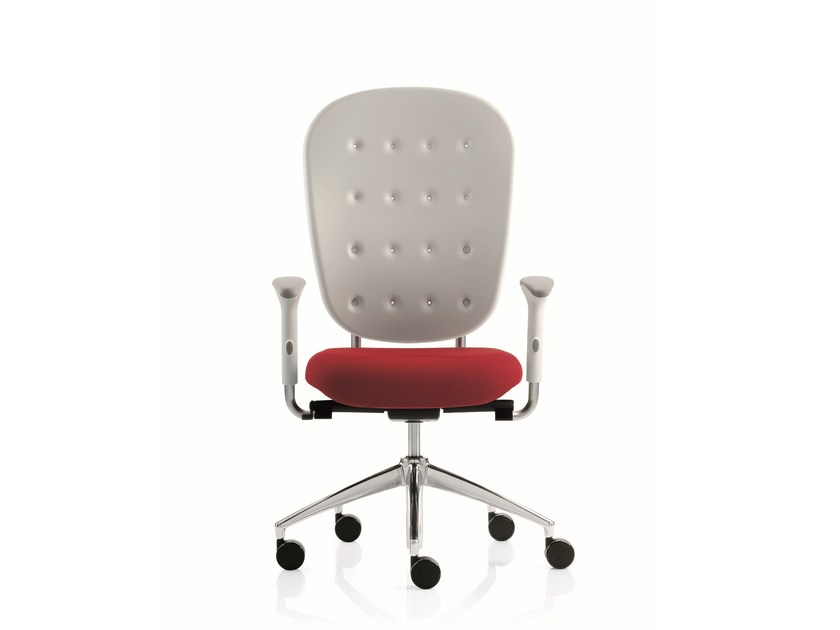Swivel task chair with 5-Spoke base with armrests FLOW | Swivel task chair by Emmegi