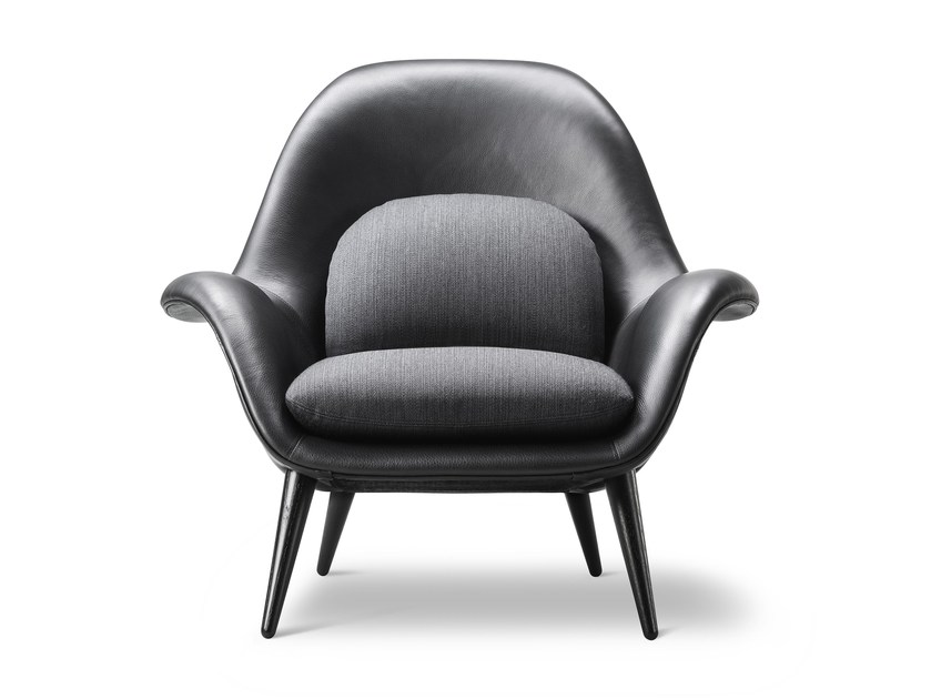 Leather easy chair with armrests SWOON | Leather easy chair by FREDERICIA FURNITURE