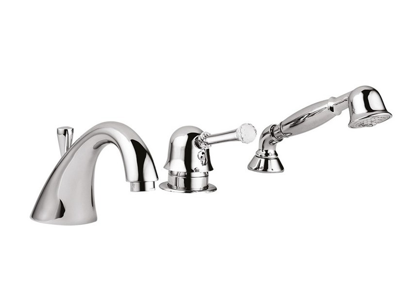 Deck mounted 3 hole bathtub tap with hand shower SYMPHONY - 4365BD by Rubinetteria Giulini