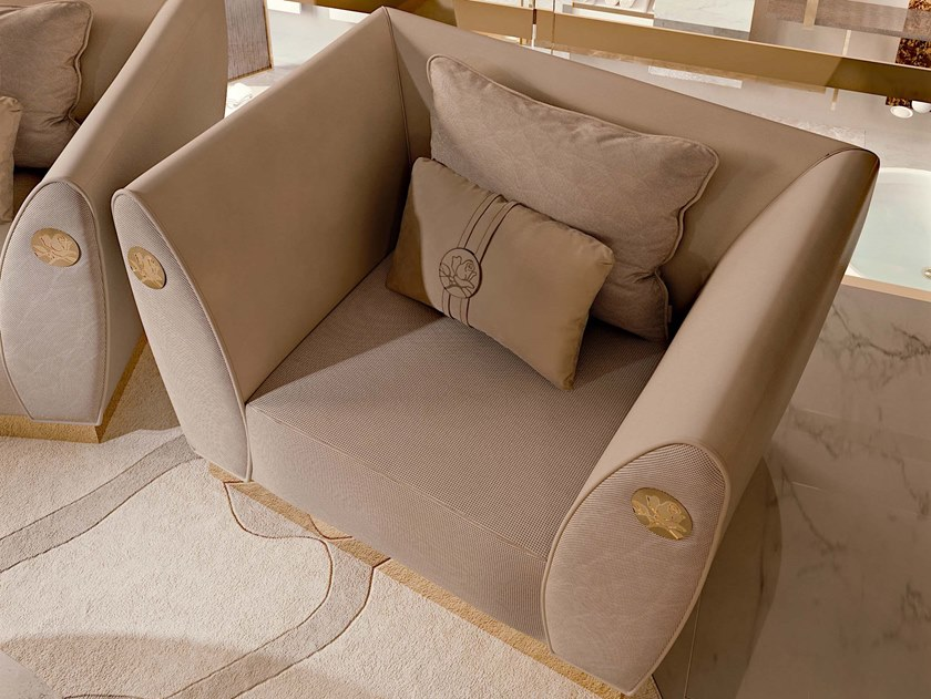 Fabric armchair with armrests SYMPHONY | Armchair with armrests by Bizzotto