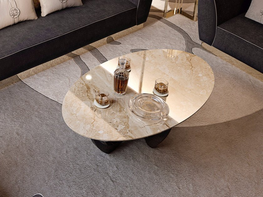 Oval marble coffee table for living room SYMPHONY - INFINITY | Marble coffee table by Bizzotto