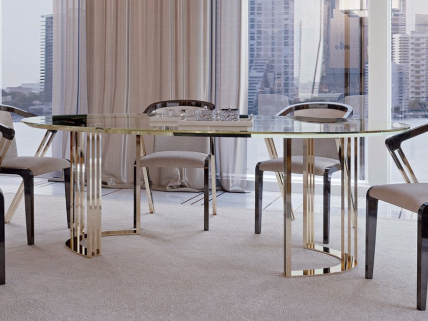 Oval Glass Dining Table SYMPHONY   INFINITY   Oval Table By Bizzotto