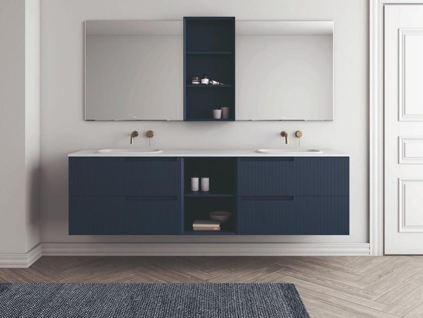 Mobile lavabo doppio sospeso con cassetti SYNERGY | Mobile lavabo doppio by Fiora