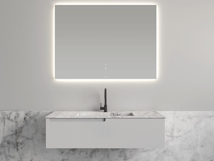 Mobile lavabo in poliuretano con top in marmo di Carrara SYNERGY | Mobile lavabo in poliuretano by Fiora