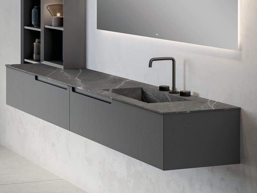 Mobile lavabo componibile con top in pietra naturale Pure SYNERGY | Mobile lavabo componibile by Fiora