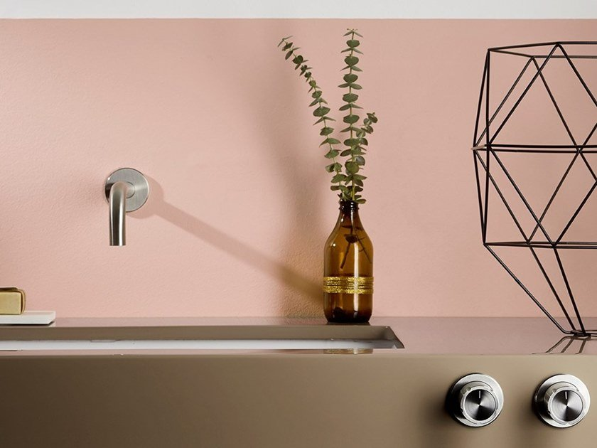 3 hole wall-mounted stainless steel washbasin tap SYNTH | 3 hole washbasin tap by MINA