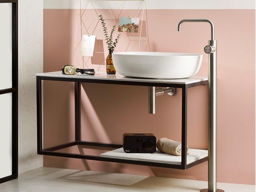 Floor standing stainless steel washbasin mixer SYNTH | Floor standing washbasin mixer by MINA